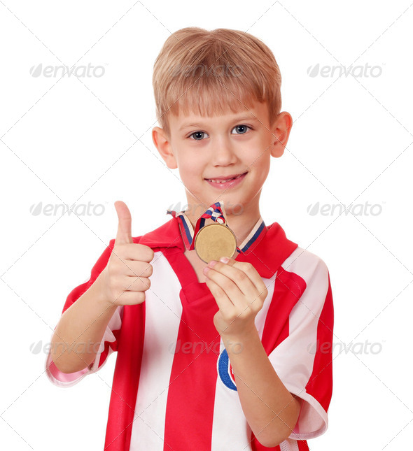 Boy with gold medal winner - Stock Photo - Images