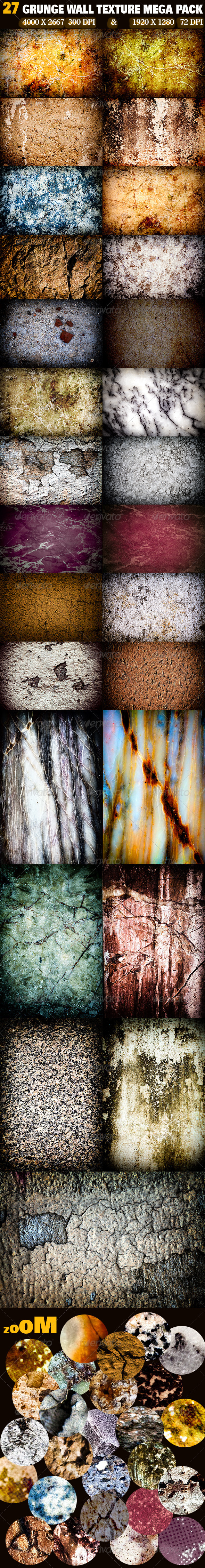 GraphicRiver 27 Grunge Wall Texture Mega Pack 3295787