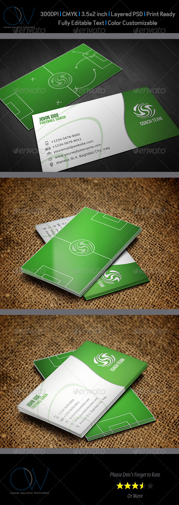 Football Coach Business Card - Industry Specific Business Cards