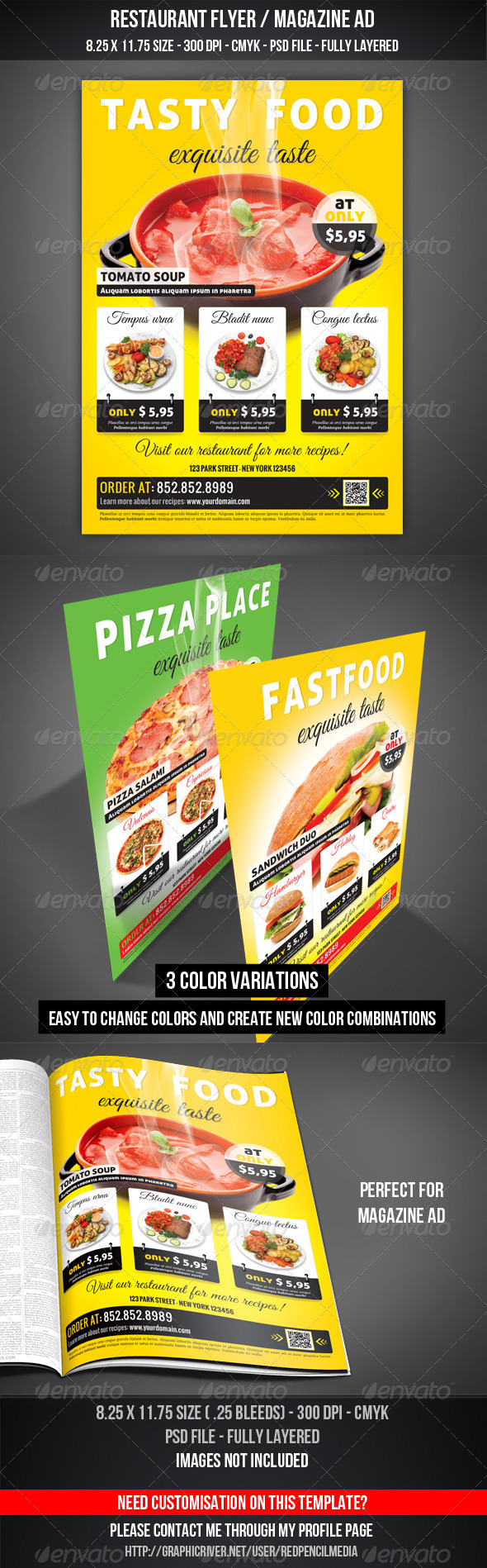 GraphicRiver Restaurant Flyer Magazine AD 3296058
