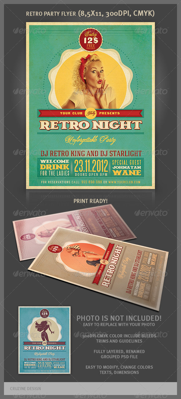 GraphicRiver Retro Party Flyer Template 3296722