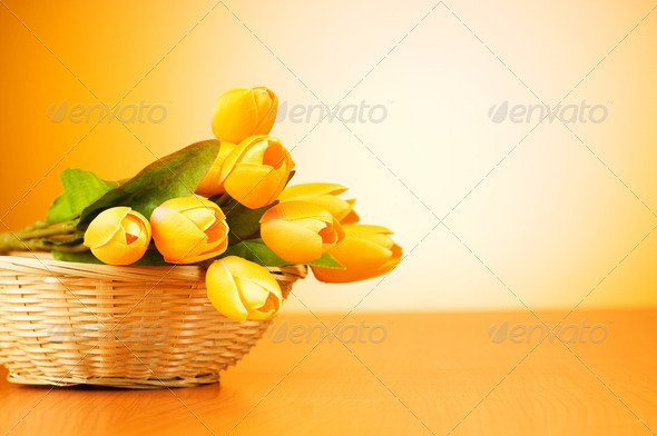 Bunch of tulip flowers on the table - Stock Photo - Images