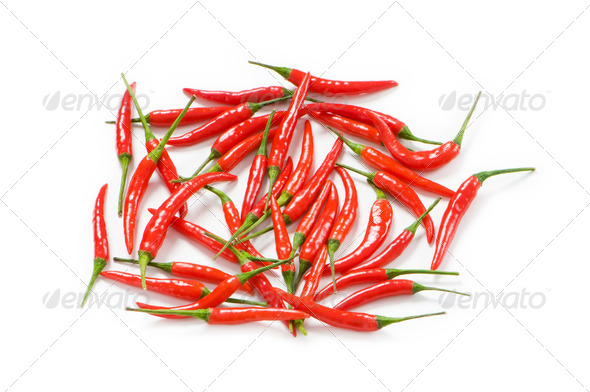 Red chili peppers isolated on the white - Stock Photo - Images