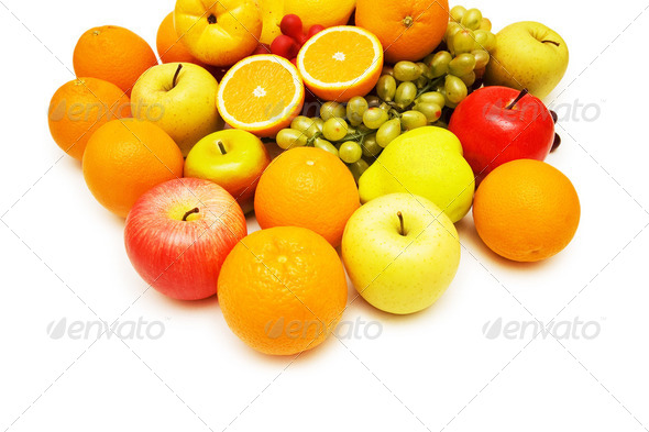 Various fruits isolated on the white background - Stock Photo - Images