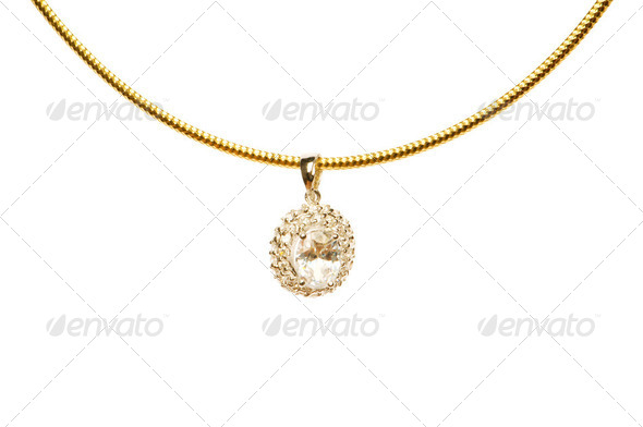 Pendant on golden chain isolated on the white - Stock Photo - Images