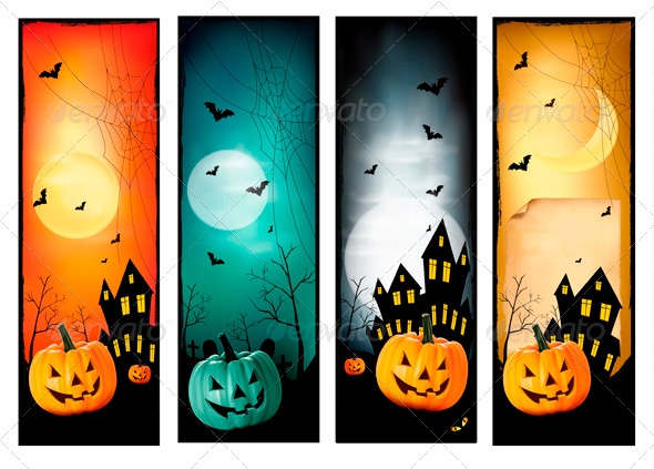 GraphicRiver Four Halloween Banners Vector 3297830