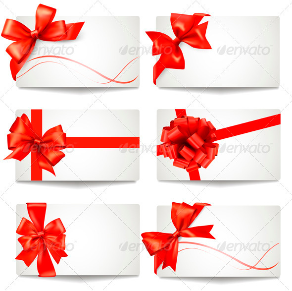 GraphicRiver Set of Gift Card Notes with Red Bows and Ribbons 3298064