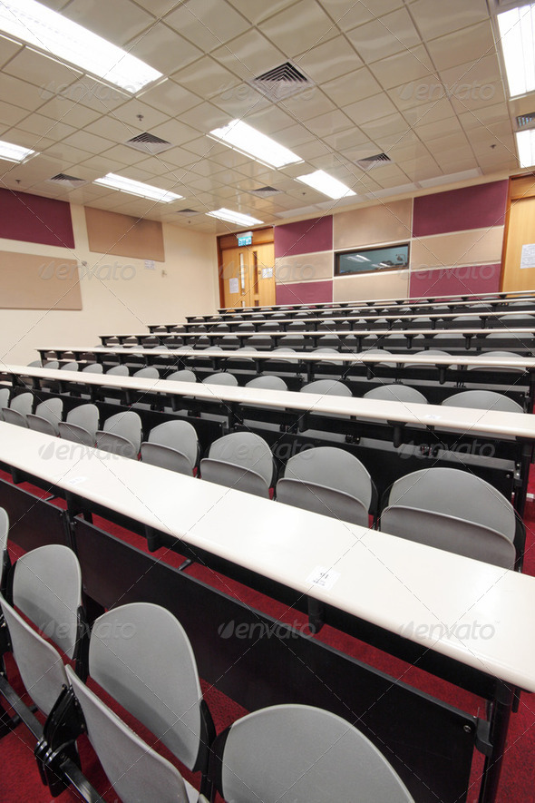 Empty hall for presentation with grey armchairs - Stock Photo - Images