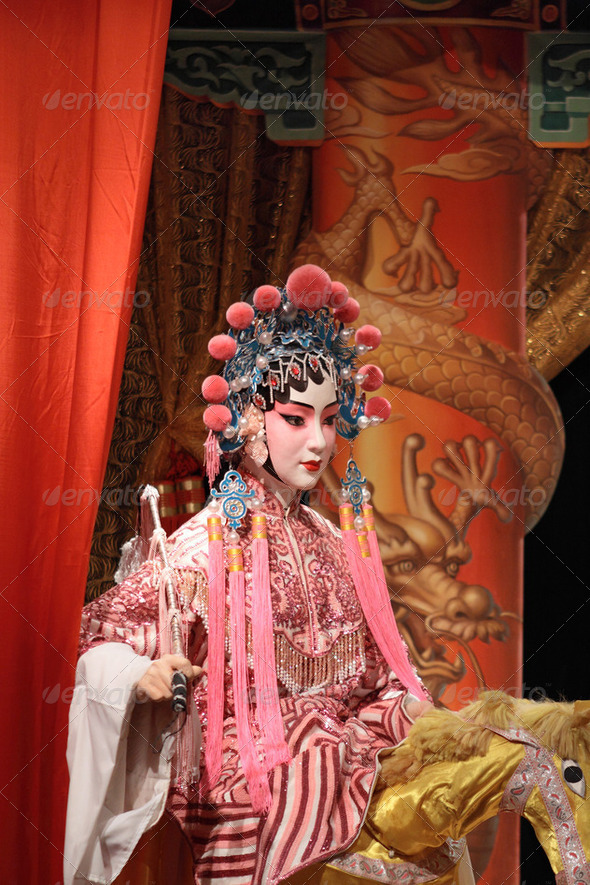chinese opera dummy and red cloth as text space ,it is a toy,not real man - Stock Photo - Images