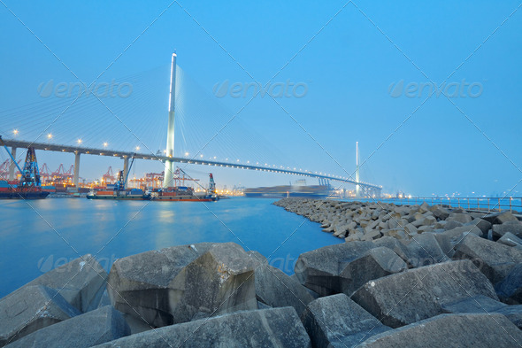 container terminal and stonecutter bridge in Hong Kong - Stock Photo - Images
