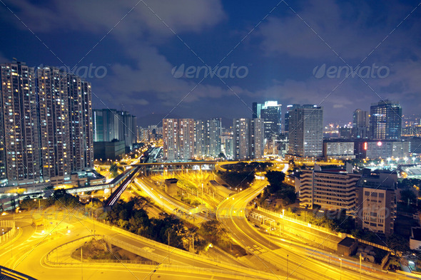 traffic in Hong Kong at night - Stock Photo - Images