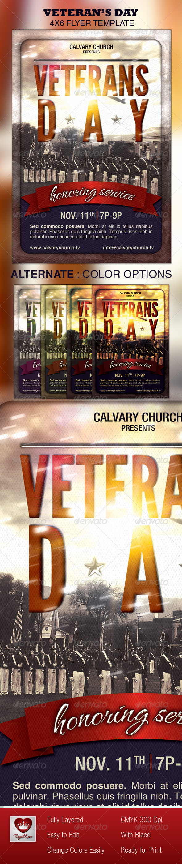 GraphicRiver Veterans Day Church Flyer 3298325