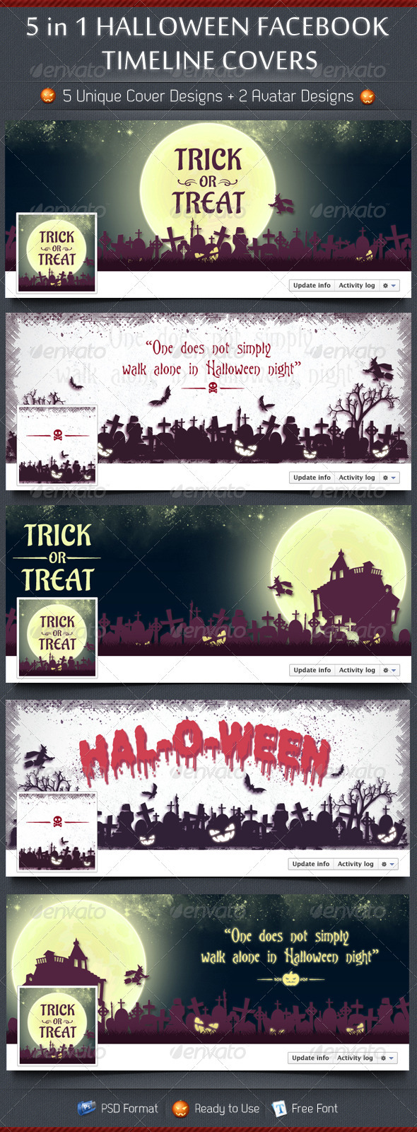 GraphicRiver 5 in 1 Halloween FB Timeline Covers 3298484