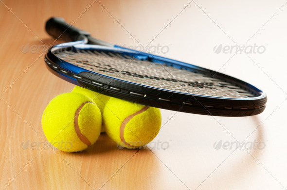 Tennis concept with balls and racket - Stock Photo - Images
