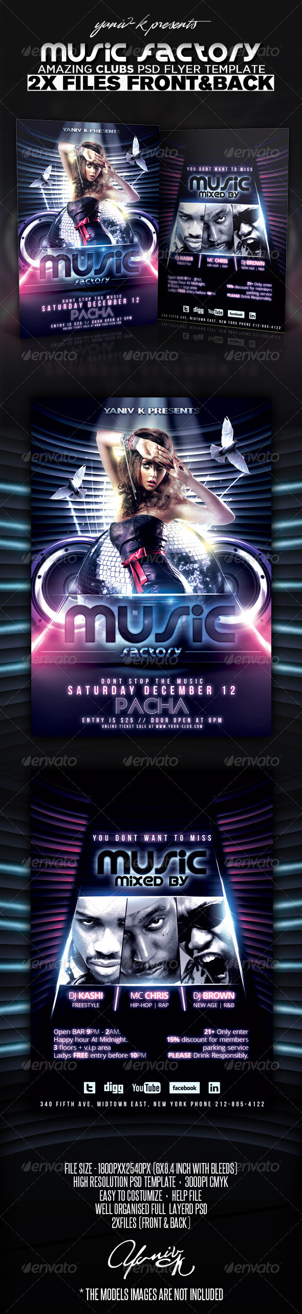 Music Factory Flyer Template  - Clubs & Parties Events