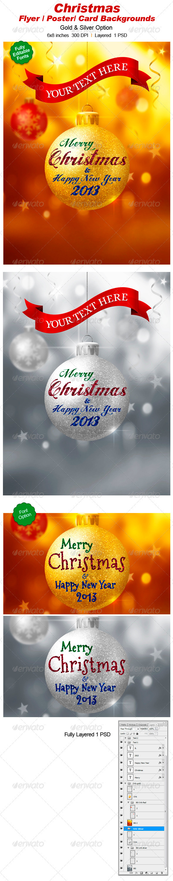 GraphicRiver Christmas Ball Poster plyer Background 3300241