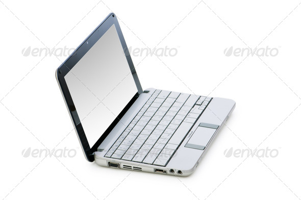 Stylish netbook isolated on the white background - Stock Photo - Images