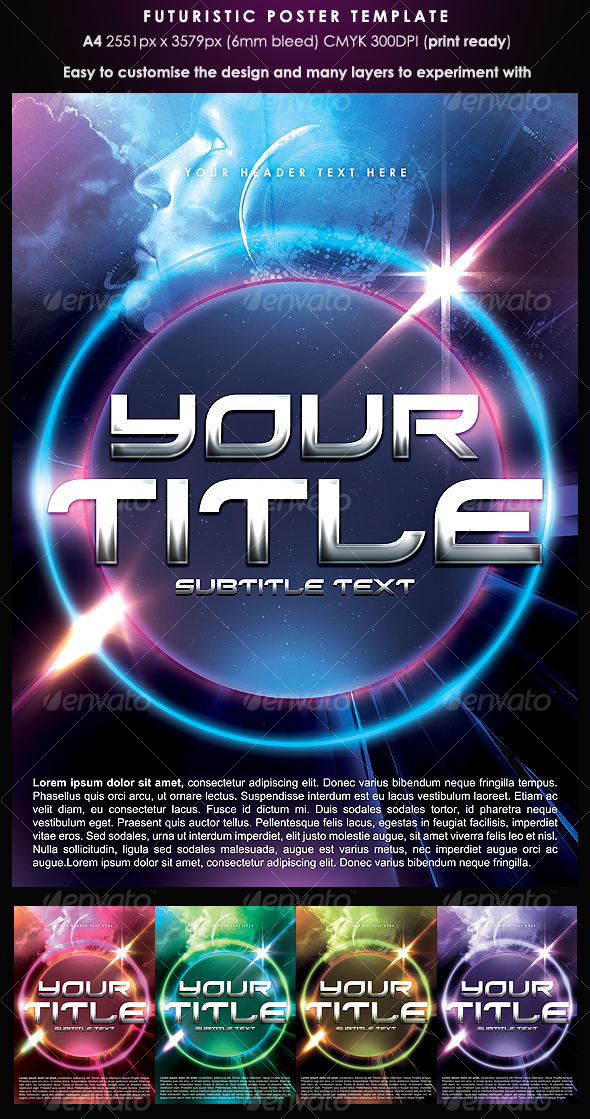 Futuristic Poster Template - Clubs &amp; Parties Events