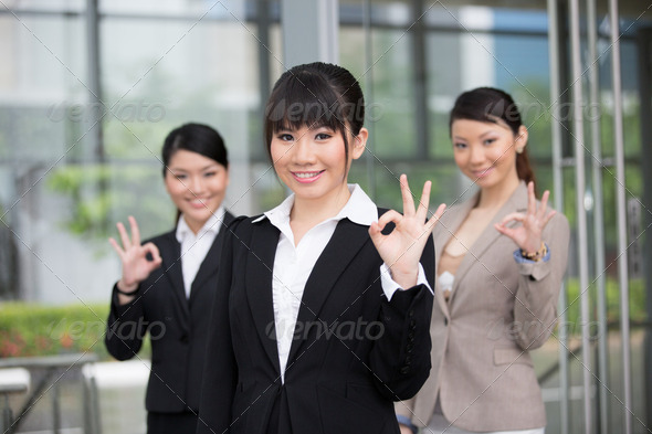 Happy Asian business team. - Stock Photo - Images