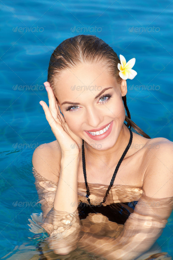 Smiling Tropical Beauty - Stock Photo - Images