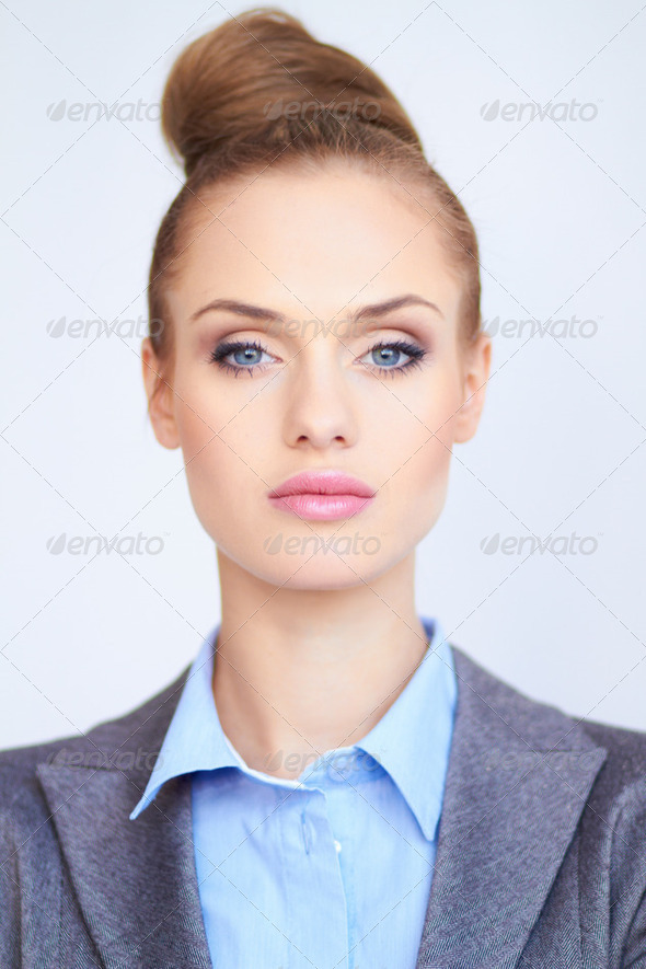 Portrait of a beautiful young business woman - Stock Photo - Images