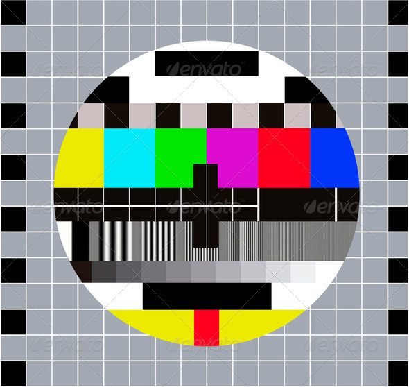 Test pattern RGB. Test Card. Technical break on television - Stock Photo - Images