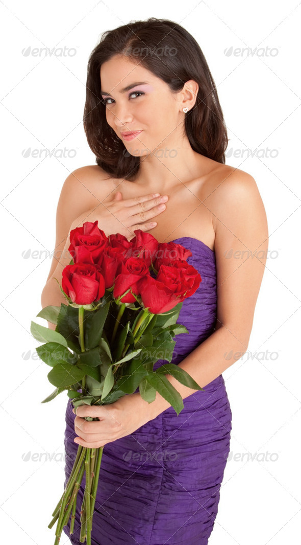 Happy Woman Holding Roses - Stock Photo - Images