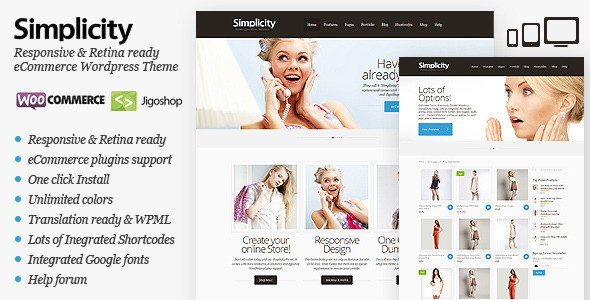 ThemeForest Simplicity eCommerce WordPress Theme Responsive WordPress eCommerce 3304024
