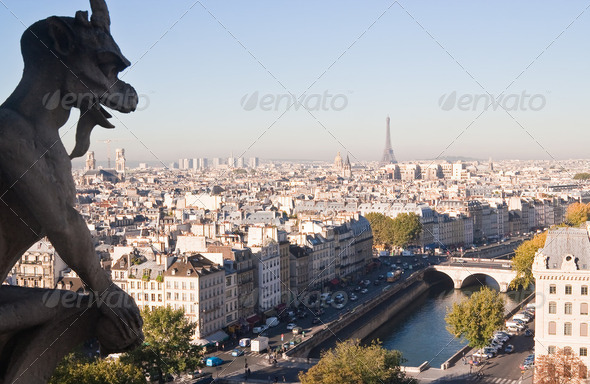 View of Paris from Notre Dame de Paris. France. - Stock Photo - Images