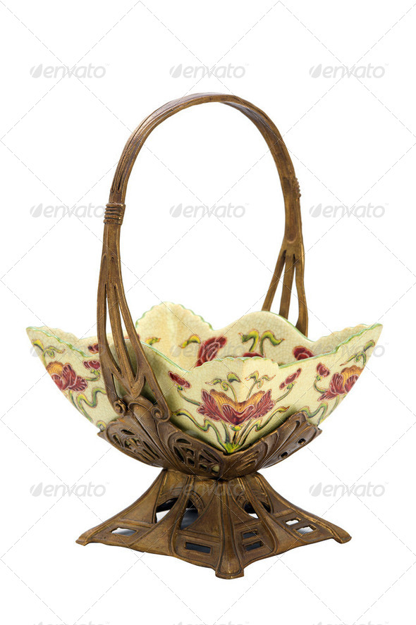 Antique porcelain dish in modern style. - Stock Photo - Images
