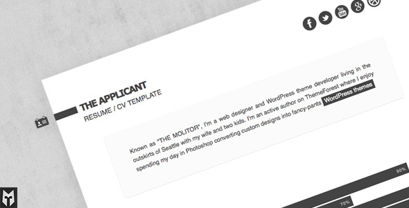 The Applicant: Resume / CV HTML Template
