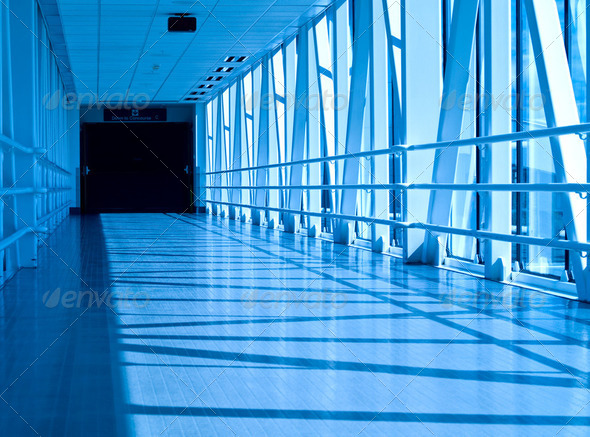Covered Skywalk Tunnel in a Cold Bluetone - Stock Photo - Images