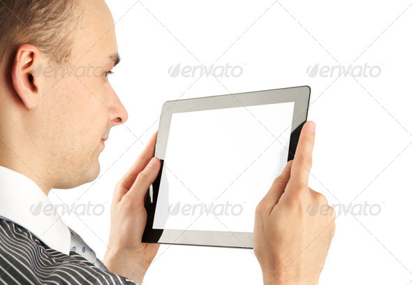 man using tablet computer - Stock Photo - Images