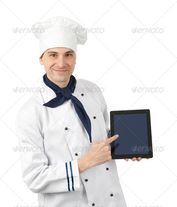 Chef presenting. Isolated on white background - Stock Photo - Images
