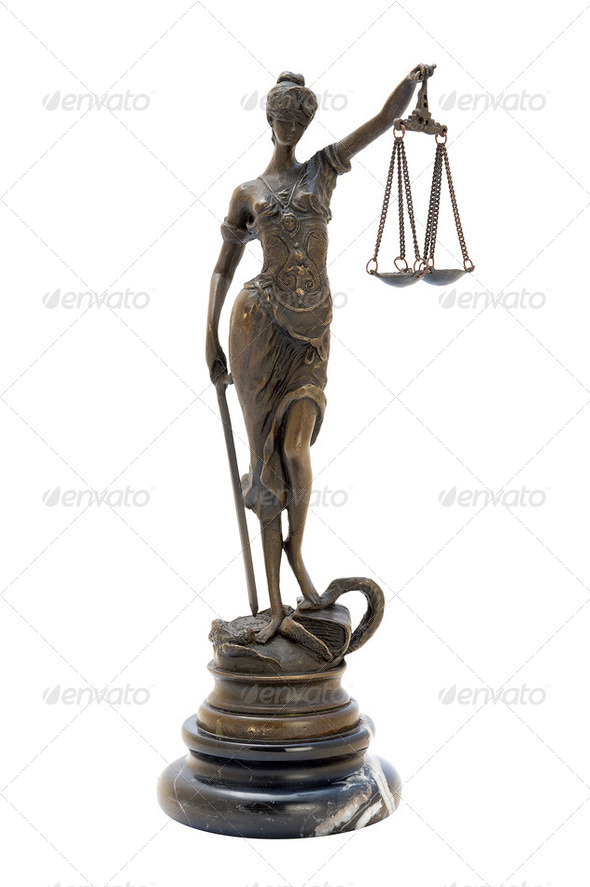 antique bronze statuette of the goddess Themis. - Stock Photo - Images