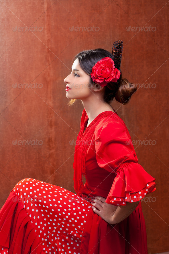 Flamenco dancer Spain woman gipsy with red rose - Stock Photo - Images