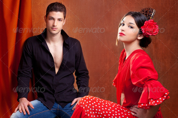 Gipsy flamenco dancer couple from Spain - Stock Photo - Images