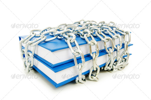 Censorship concept with books and chains on white - Stock Photo - Images