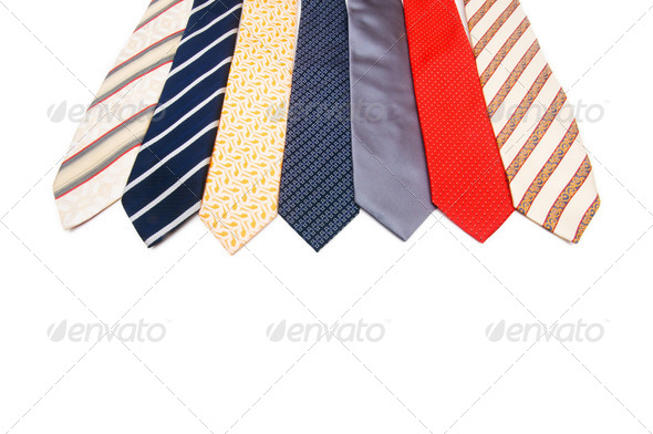 Neck ties isolated on the white background - Stock Photo - Images