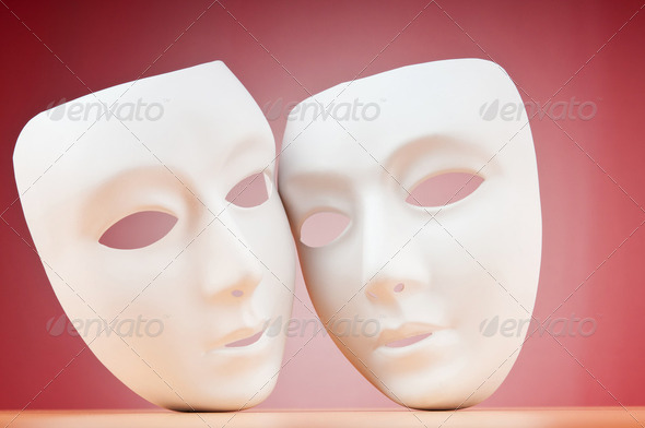 Masks with theatre concept - Stock Photo - Images