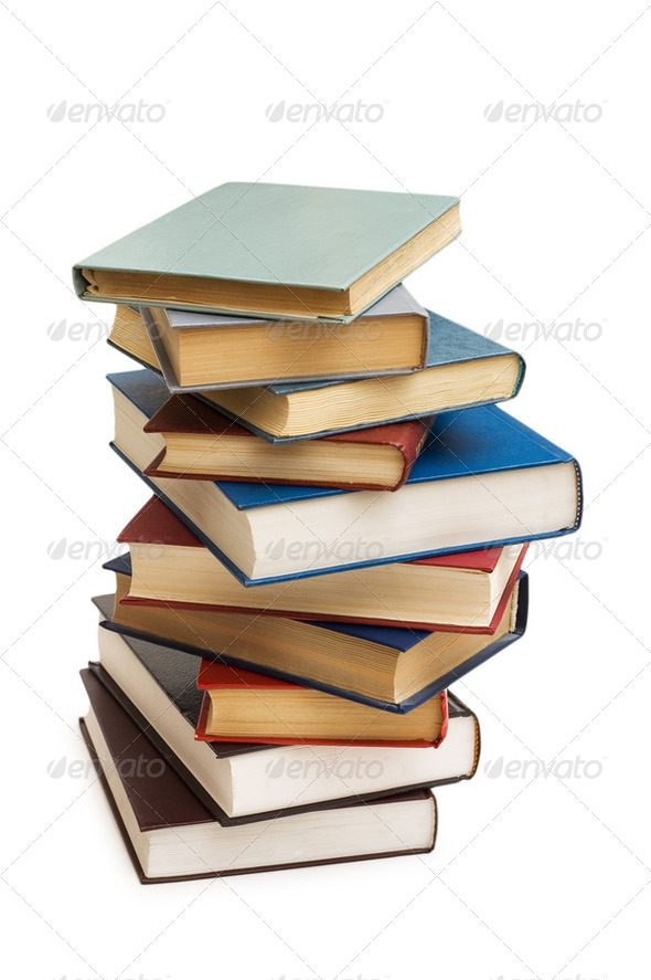 Stack of books isolated on the white - Stock Photo - Images