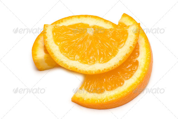Three orange slices isolated on the white - Stock Photo - Images