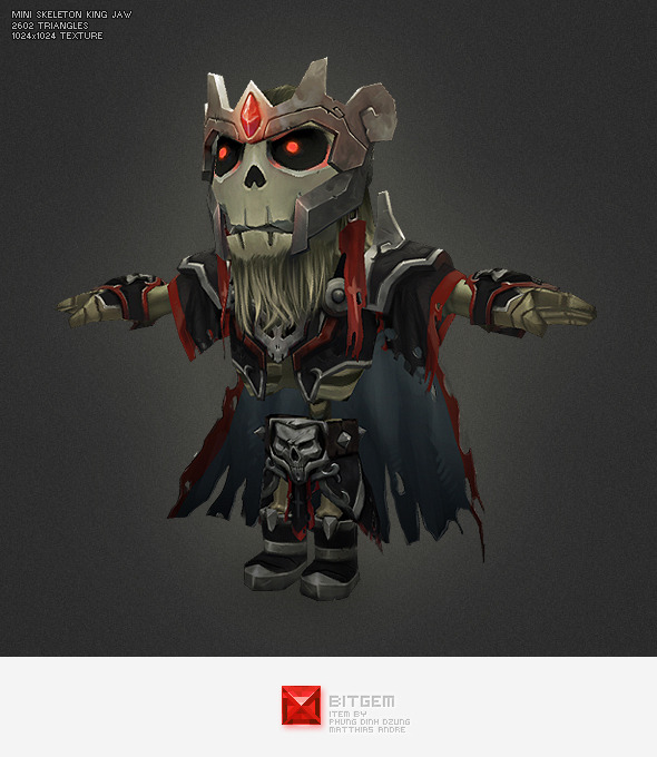 Low Poly Mini Skeleton King Jaw - 3DOcean Item for Sale