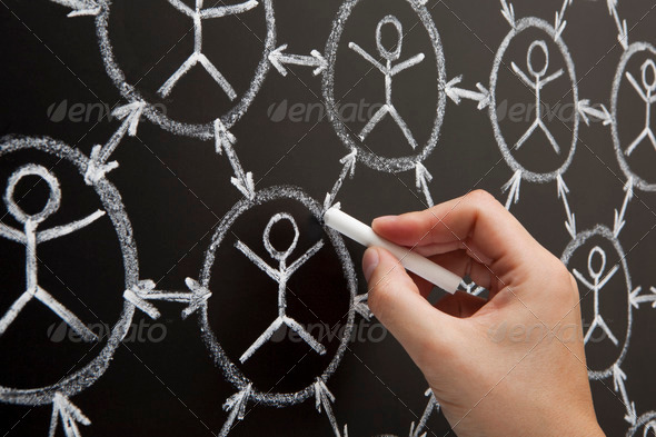 Hand Social Network Blackboard - Stock Photo - Images