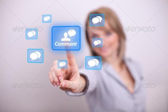 PhotoDune Woman pressing comment button 2172126