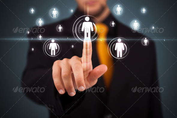 PhotoDune Businessman pressing modern social type of icons 2172369