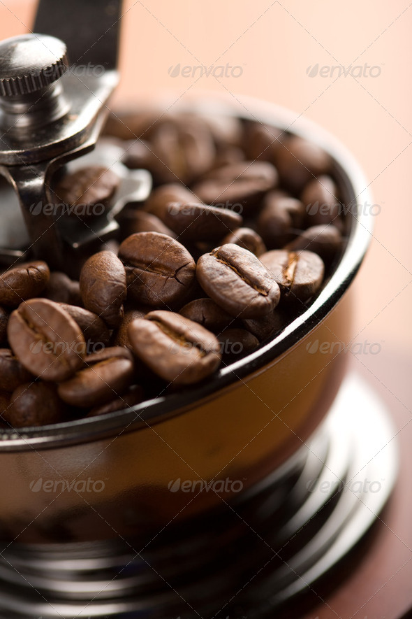roasted coffee beans in coffee grinder - Stock Photo - Images