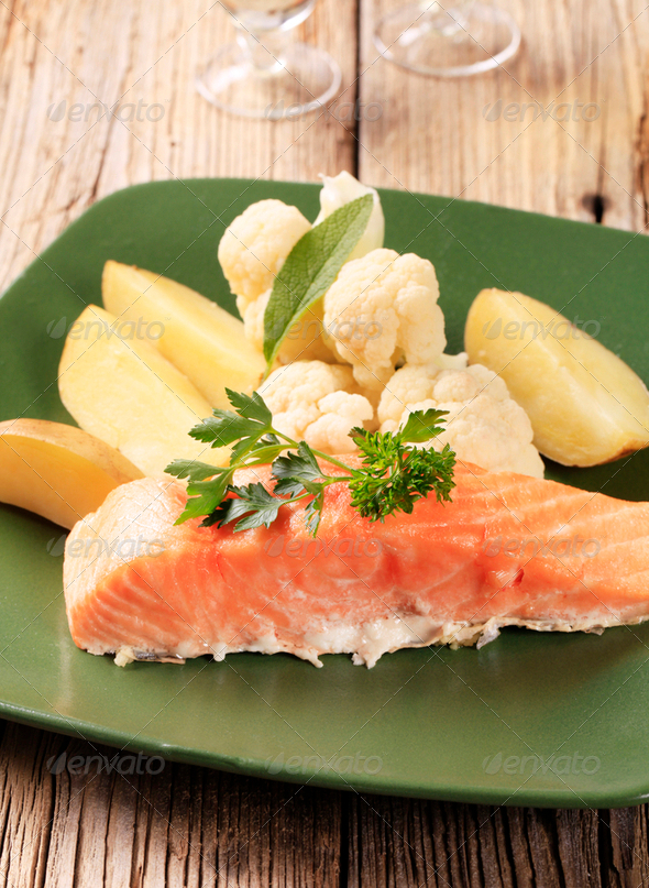 Salmon fillet and potatoes - Stock Photo - Images