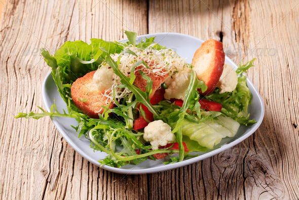 Healthy salad and crispy bread - Stock Photo - Images
