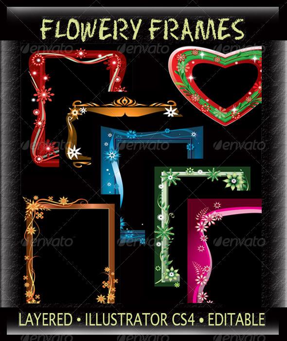 GraphicRiver Flowery Frames 3308969